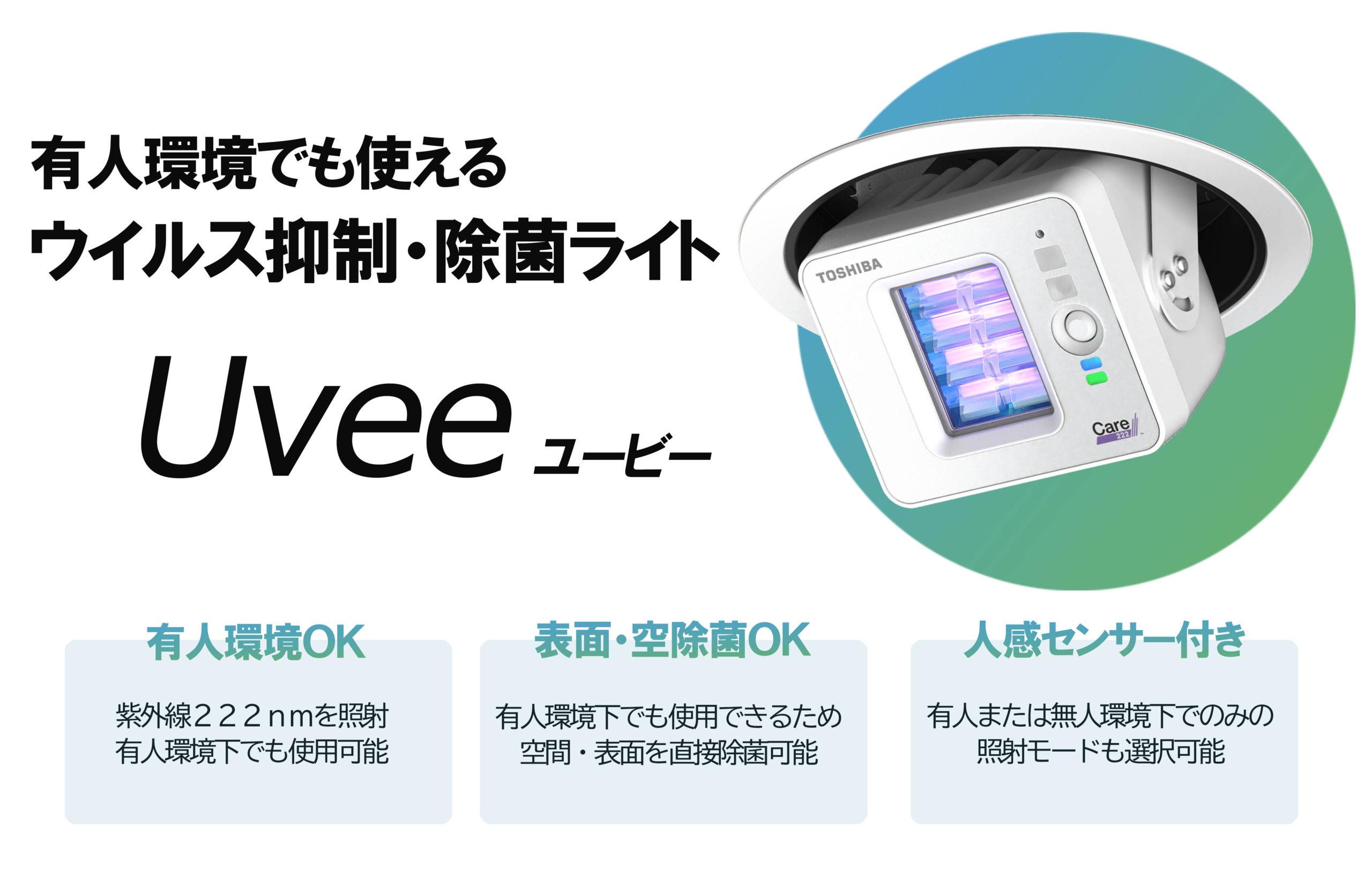 有人環境下で使用できるウイルス不活化・UV222nmの殺菌技術「Uvee」。友人環境下でも使用でき、表面空間除菌が同時に行えます。