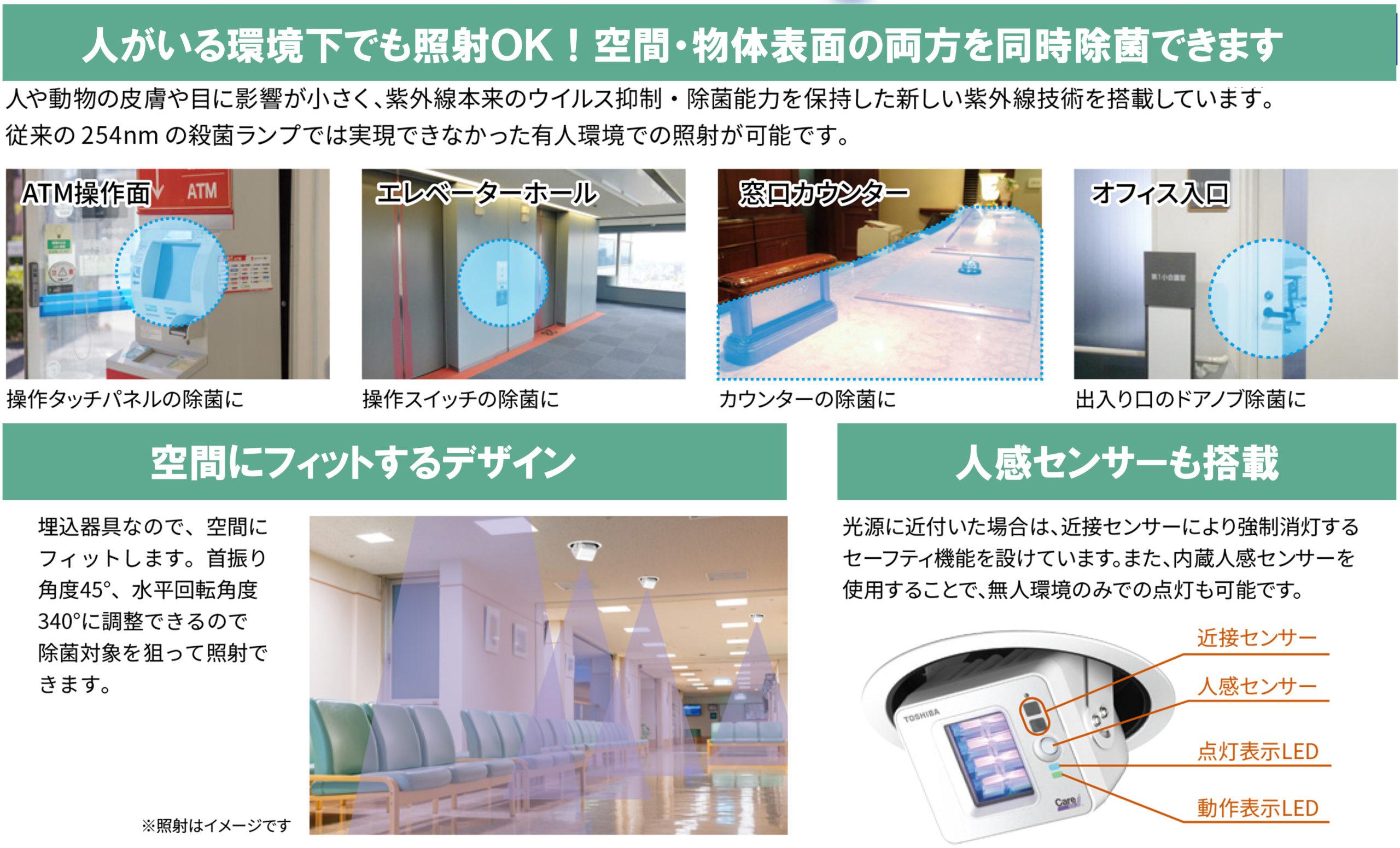 人がいる環境下でも照射可能なため空間にフィットするデザインで設置場所を決めることができます。